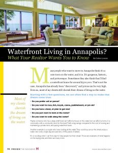 Waterfront Living in Annapolis?  What your Realtor wants you to know