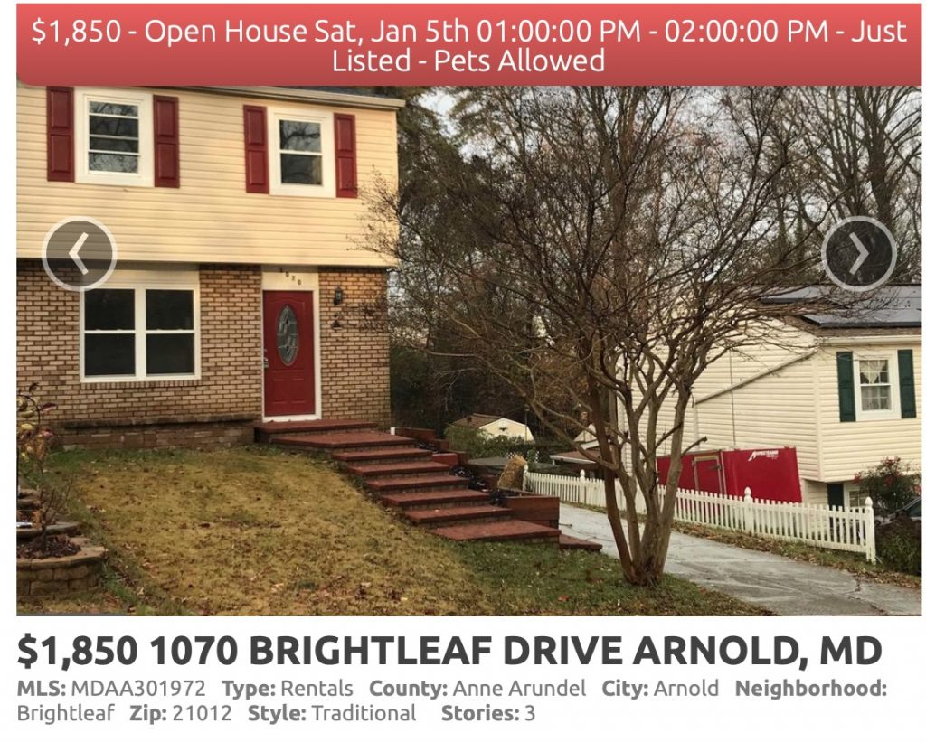Home for rent in Brightleaf in Arnold, Maryland