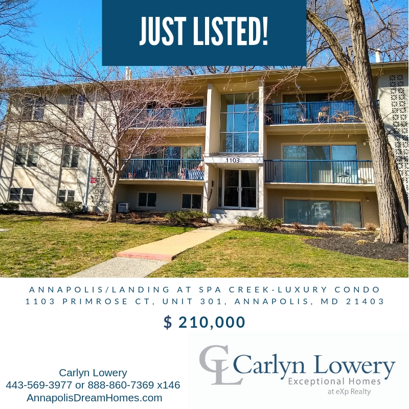 Just Listed by Carlyn Lowery Exceptional Homes at eXp Realty 1103 Primrose Ct 301 Annapolis MD 21403