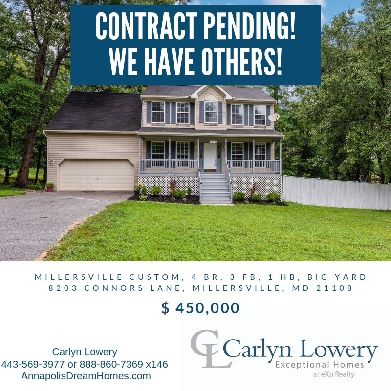 Contract Pending 8203 Connors Lane Millersville MD  21108